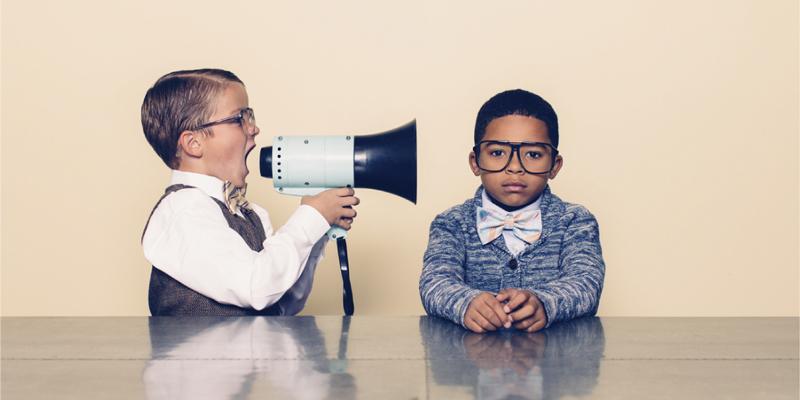 Motivate kid with loud speaker