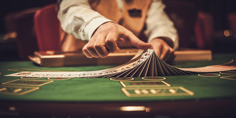 Professional gambler in casino